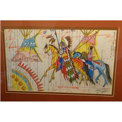 "Ledger Art, original, signed by George Flett, 16"" x 20"""