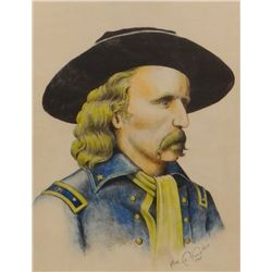 "Lafountain, Alex watercolor, Custer, 1967, 10"" h x 12"" w, framed"