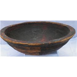 "Large hand-made 28"" wooden bowl, from Fort Robinson. Hand pieced rim. Coated with pitch."