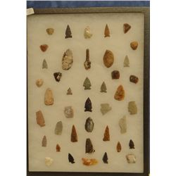 """41 artifacts in 12""""x 16""""x1"""" frame, includes 11 scrapers, 22 arrowheads, 1 awl, 7 knives"""