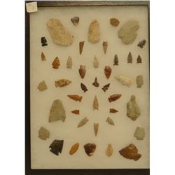 """42 artifacts in 12""""x1 6""""x1"""" frame, includes 3 scrapers, 3 awls, 5 knives, 21 arrowheads, Gull Lake,"""