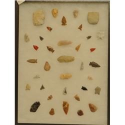 """35 artifacts in 12""""x  16""""x1 frame, includes 6 scrapers, 3 awls, 5 knives, 21 arrowheads, Jasper, Obs"""