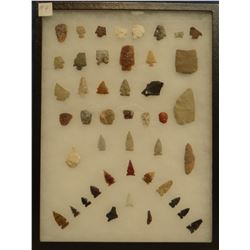 """45 artifacts in 12""""x 16""""x1"""" frame, includes 7 scrapers, 3 awls, 4 knives, 31 arrowheads"""