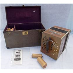 Tanzbar player accordion, working condition, w/18 player rolls, made Leipzig, Germany ca. early 1900