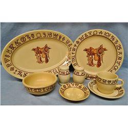 Wallace China Boots & Saddles 10 pl. dinnerware set, Til Goodan, w/many accessory pcs.