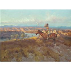 Bailey, William, Indian on horse, 1971, Oil on canvas, 18x24