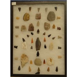 """48 artifacts in 12""""x 16""""x1"""" frame, includes 12 knives, 36 arrowheads"""