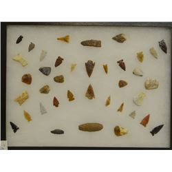 """38 artifacts in 12""""x 16""""x1"""" frame, includes 9 scrapers, 4 awls, 3 knives, 22 arrowheads, Knife River"""