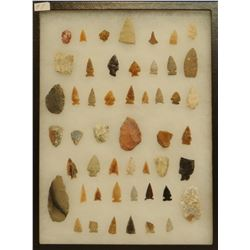 """52 artifacts in 12""""x 16""""x1"""" frame, includes 9 scrapers, 1 awl, 7 knives, 35 arrowheads"""