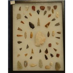 """50 artifacts in 12""""x 16""""x1"""" frame, includes 10 scrapers, 4 awls, 10 knives, 26 arrowheads"""