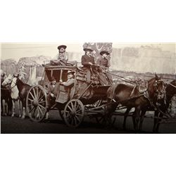 "Vintage photo, Buffalo Bill Cody driving stage coach, 9"" x 12"""