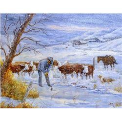 "Dahlen, Oris , oil, 18"" x 24"", Rancher Chopping Ice for Cattle"