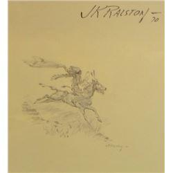 "Ralston, J. K. (1896-1987), pen & ink, 7 ½"" x 8"" h, Indian Horseback Waving Blanket"
