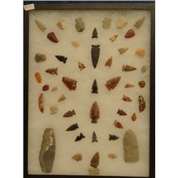 """49 artifacts in 12""""x 16""""x1"""" frame, includes 10 scrapers, 2 awls, 4 knives, 33 arrowheads, Basalt poi"""
