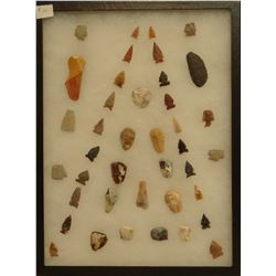 """40 artifacts in 12""""x 16""""x1"""" frame, includes 11 scrapers, 3 knives, 26 arrowheads"""