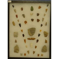 """44 artifacts in 12""""x 16""""x1"""" frame, includes 8 scrapers, 2 awls, 7 knives, 27 arrowheads"""