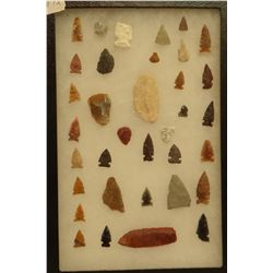"""35 artifacts in 8""""x 12""""x1"""" frame, includes 4 scrapers, 3 awls, 2 knives, 26 arrowheads, Jasper"""