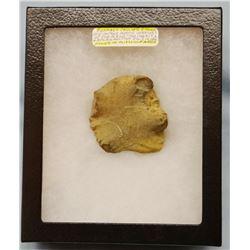 Buffalo calling stone, from Blackfeet tribe, cased