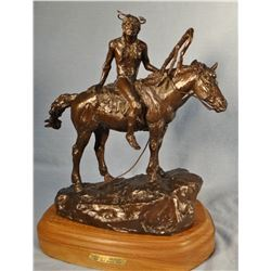 "Scriver, Bob bronze, (1914-1999) Piegan Brave, #20/35, 11"" x 11"" x 5"""