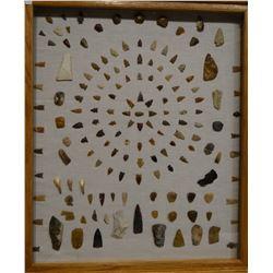 "144 artifacts, in 22"" x 26"" frame, arrowheads, scrapers, knives, buffalo teeth, all found in Sun Riv"