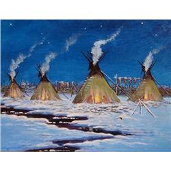 "Cheek, C. R., (1937- ) oil, Indian Winter Camp, 12"" x 14"","