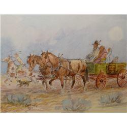 Contway, Jay, watercolor, Indians In Wagon,
