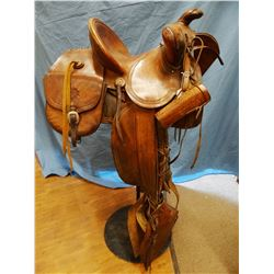 Victor Ario saddle, bear trap style,  w/saddle bags, scabbard, taps and telescope sheath, all marked