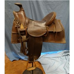 Main & Winchester loop seat, slick fork saddle, sold by E. J. Owenhouse, Bozeman, Montana Territory