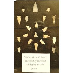 """20  arrowheads  in 8""""x 12""""x1"""" frame, agate and cherk, some of the finest ever found"""