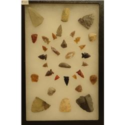 """32 artifacts in 8""""x 12""""x1"""" frame, includes 7 scrapers, 3 awls, 6 knives, 16 arrowheads"""