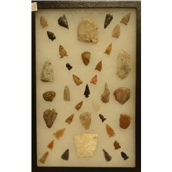 """37 artifacts in 8""""x 12""""x1"""" frame, includes 6 scrapers, 2 awls, 4 knives, 25 arrowheads"""