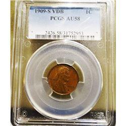 1909-S V.D.B. Lincoln Penny, PCGS A.U. 58 (very rare)