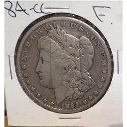 1884-CC Morgan Silver Dollar, Fine