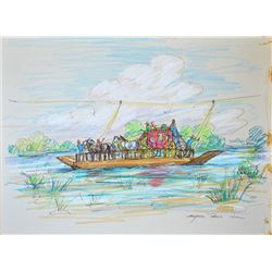 """Reed, Marjorie, Ferry Crossing, pen/colored pencil, 11"""" x 14"""", signed lower right"""