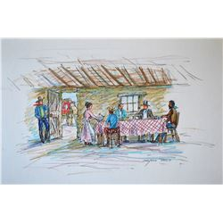 """Reed, Marjorie (1915-1996), Meal Stop on the Butterfield Overland Trail, Pen/colored pencil, 12"""" x 1"""