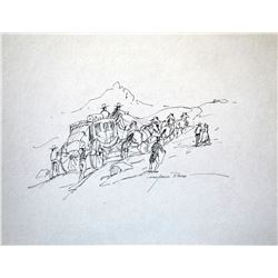 """Reed, Marjorie (1915-1996), Over the Summit – Pacheco Pass, Ink, 10 3/8"""" x 13 3/8"""", signed lower rig"""
