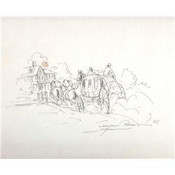 """Reed, Marjorie (1915-1996), Sketch for the Butterfield Overland Stage in California, Ink, 9"""" x 10 ½"""""""