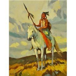 "Bodily, Sheryl, Blackfeet Scout, oil on bd., 11"" x 14"""
