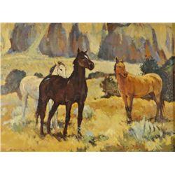 "Bodily, Sheryl, Three Horses, oil on bd., 12"" x 16"","