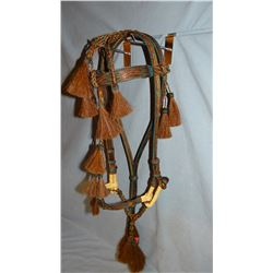 Hitched horse hair bridle, S. Dak. State Prison-made, elk hide accents