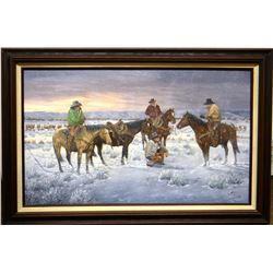 """Dahlen,Oris, Cowboy Winter, 1991, Oil on board, 18"""" x 30""""."""