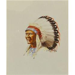 Shope, Irvin 'Shorty', (1900 - 1977 Indian in War Bonnet, 1941, Watercolor, 7x8