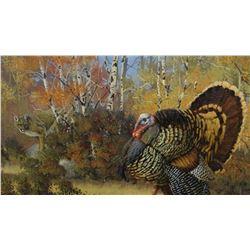 Johnson, J. H., Last Strut, turkey & lion, Oil on canvas, 14 x 18