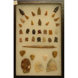 """36 artifacts in 8""""x 12""""x1"""" frame, includes 4 scrapers, 3 knives, 28 arrowheads, 1 bone awl, highly p"""