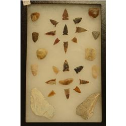 """21 artifacts in 8""""x 12""""x1"""" frame, includes 1 scraper, 3 knives, 17 arrowheads"""
