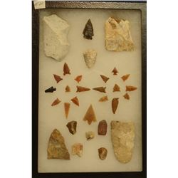 """30 artifacts in 8""""x 12""""x1"""" frame, includes 6 scrapers, 4 knives, 20 arrowheads"""