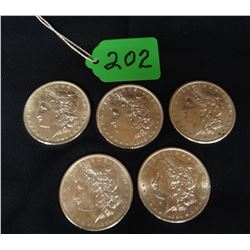 5 Morgan dollars, 1890-S, 1891, 1897-S, 1898, 1900