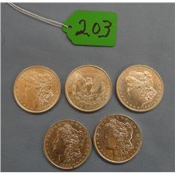 5 Morgan dollars, 1879, 1882-O, 1887, 1896,  1902