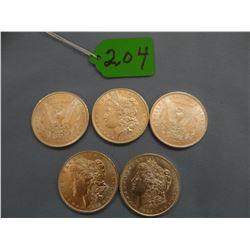 5 Morgan dollars, 1880-O, 1881, 1883-O, 1884, 1885