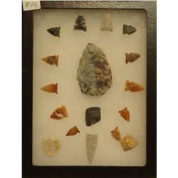 """17 artifacts in 6""""x 8""""x1"""" frame, includes 3 scrapers, 1 knife, 13 arrowheads"""